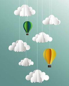 Vector paper clouds and balloons - - Vector paper clouds and balloons DIY and crafts – Millionen kreativer Fotos, Vektoren, Videos und Musikdateien für Ihre Inspiration und Projekte. Mothers Day Crafts For Kids, Summer Crafts For Kids, Art For Kids, Paper Clouds, Paper Mobile, Origami Mobile, Balloon Crafts, Paper Crafts Origami, Diy Paper