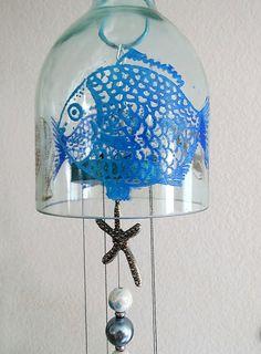 Recycled Wine bottle wind chime, Blue fish, sea shells, star fish, Yard art, Glass bottle wind chime, Circle glass, Large bottle wind chime by LindasYardArt on Etsy