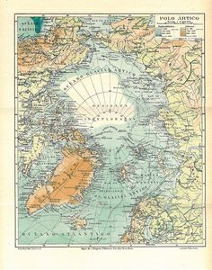 1923 North Pole #Vintage #Map  Expeditions Arctic Ocean.Etsy.