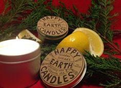 Aromatherapy Candle with fir needles & lemon from Happy Earth Candles Happy Earth, Aromatherapy Candles, Beautiful Things, Wax, Lemon, Laundry