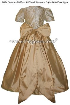 53c4b15700 Pure Gold and Tawny Gold silk Flower Girl Dress - Pegeen Style 409 -  Available in