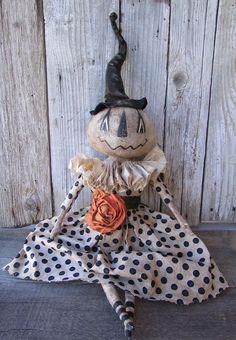 Primitive Folk-Art Halloween White Pumpkin Witch Grungy Doll #NaivePrimitive #GRUNGEGODDESSPRIMITIVES