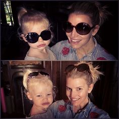 Like mother, like daughter! Clearly little Maxwell is her mommy's little girl in this adorable snap that her mom Jessica Simpson shared on Instagram. The pair matched -- donning oversized sunglasses, platinum blond hair and big grins for the camera on Feb. 26, 2014.
