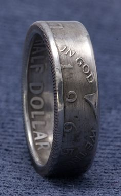 1965 JFK Kennedy 40% Silver Coin Ring US Half Dollar Double Side Coin Rings Size 7-17 50th Birthday Gift Silver 50 Year Wedding Anniversary