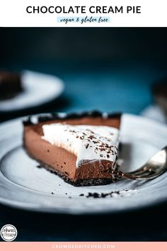 If you're ever looking for an easy, no-fail, crowd-pleasing vegan dessert, this silky chocolate cream pie is just that. With a gluten free chocolate cookie crust and a smooth, mousse-like filling, it's impossibly good! Even the non-vegans in our family LOVE this recipe. It's always a hit no matter the occasion!