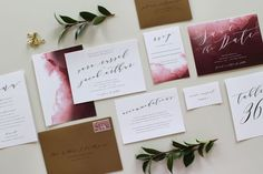 Do you adore cranberry and wine shades? This marsala wedding invite featuring dark copper envelopes is a lovely option, particularly for autumn and winter's deep color palettes. #weddinginvitation