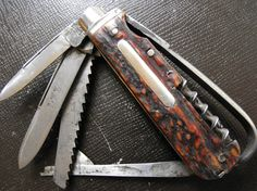 George Wostenholm IXL Horseman's Knife in stag blades out