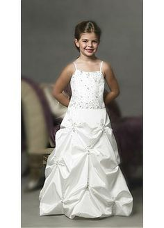 White Taffeta Spaghetti Beading Flower Girl Dress on sale d3f0ec545