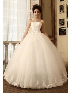Sweetheart Tulle and Lace Ball Gown Wedding Dress