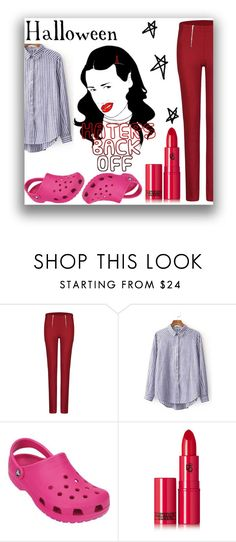 """Halloween Costumes - Miranda Sings"" by amazingpaz ❤ liked on Polyvore featuring Crocs and Lipstick Queen"