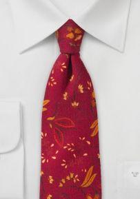 Skinny Floral Wool Tie in Red and Orange