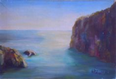 Mare a Positano ( Italia). Anno 1980. Dipinto dal vero Dim. cm 30 x cm 50. Autore Maestro Alfonso Palma Positano, Painting, Palms, Italia, Artists, Positano Italy, Painting Art, Paintings
