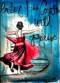 Red Dress Praise Painting Print. $15.00, via Etsy. I LOVE THIS