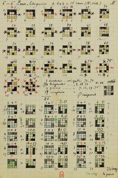 Fig. 21.2. Jules Bourgoin. «6-6 P[oints] noirs. Échiquiers de 4x4=16…
