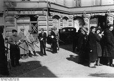 Members of Latvian Auxiliary Police assemble a group of Jews, Liepāja, July, 1941. By January 1942, all but 3,500 of the 60,000 Latvian Jews had been exterminated, often with the help of Latvian authorities.