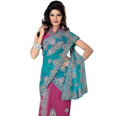 Blue and Pink Pure Chiffon Lehenga Style Saree with Blouse Bollywood Party, Bollywood Dress, Lehenga Style Saree, Sarees, Colourful Outfits, Wedding Attire, Indian Outfits, Indian Fashion, Cute Dresses