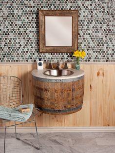 Repurposed wood barrel sink. Very rustic!!