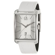 Calvin Klein's 'Window' Swiss quartz watch is an elegant choice for the stylish man. Its modern design features a stainless steel case, white leather strap, luminescent hands, date at 6 o'clock and a mineral crystal.