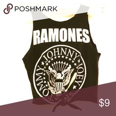 🍡Cut up RAMONES tee🍭 RAMONES tee that has bee cut. Ties at the bottom. Tops Tank Tops
