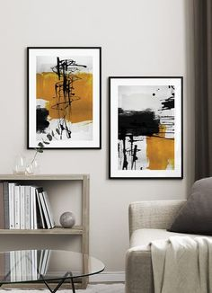 Yellow Abstract No2 (50x70) Black Poster, Buy Posters Online, Nordic Interior, Modern Art Prints, Abstract Shapes, Oil Painting Abstract, Gray Background, Cool Artwork, Scandinavian Design
