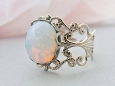 Opal Ring Opal Jewelry Silver Opal Rings Adjustable White Opal Ring October Birthstone (19.00 USD) by pinkingedgedesigns