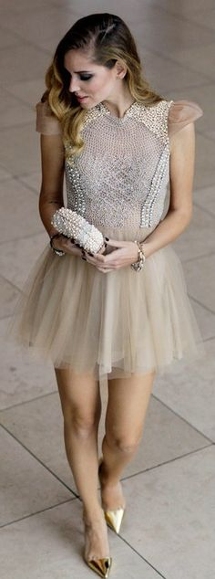 Beaded mini dress & gold shoes