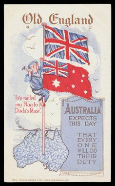 """PATRIOTISM: 1914 (?) David Jones Ltd of child-sailor nailing the Australian flag below the Union Jack """"...Australia expects this day that every one will do their duty"""", very minor blemishes on the address-side, unused. Rare. [The use of children in such campaigns was a deliberate attempt to shame men into joining the Forces] - Price Estimate: $175 - $"""