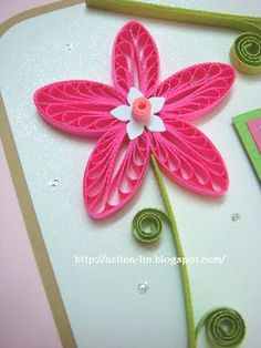 pink & green paper quill flower - Video tutorial on post---Lin Handmade Greetings Card: Shades of pink Neli Quilling, Quilling Videos, Quilled Roses, Quilling Comb, Quilling Paper Craft, Quilling Techniques, Paper Crafts, Paper Art, Quilling Tutorial