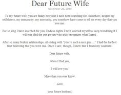 I thought this was beautiful. Future husbands love what God is ...
