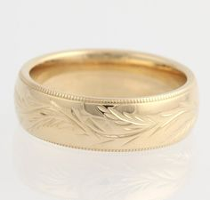 Men's Etched Wedding Band – 14k Yellow Gold Wheat Leaf Design Polished Size 9.75 F6611