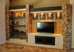 Drywall built in entertainment center ideas entertainment shelves ideas elegant entertainment center wall shelves beautiful custom Entertainment Shelves, Custom Entertainment Center, Tv Decor, Home Decor, Media Wall, Living Room Tv, Drywall, Design Case, Tv Unit