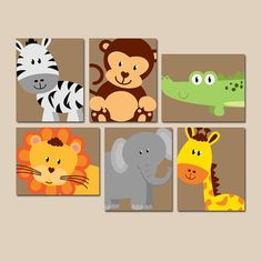 ★SAFARI Animal Wall Art, Animal Nursery Artwork, Zoo Jungle Theme, Baby Boy Nursery Decor, Bedroom Pictures, CANVAS or Prints, Set of 6  ★Includes 6 pieces of wall art ★Available in PRINTS or CANVAS (see below)  ★SIZING OPTIONS Available from the drop down menu above the add to cart button with prices. >>>  ★PRINT OPTION Available sizes are 5x7, 8x10, & 11x14 (inches). Prints are created digitally and printed with UltraChrome Hi-Gloss ink on professional 68lb satin luster photo paper. Prints…