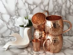 Copper Moscow Mule Mugs Gift Set :: Set of 4 Premium Moscow Mule Copper Mugs :: Moscow Mule Mug Set of 4 :: Copper Cups for Moscow Mules, Gift Boxed 7 Year Anniversary Gift, Copper Cups, Copper Moscow Mule Mugs, Copper Handles, Food Illustrations, Mugs Set, Corporate Gifts, Shot Glass, Illustrated Recipe
