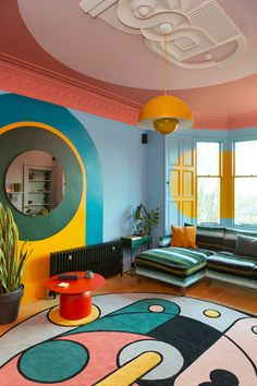 Colourful Living Room, Simple Living Room, Living Room Decor, Bedroom Decor, Living Room Interior, Retro Living Rooms, Kitchen Living, Small Living, Romantic Home Decor