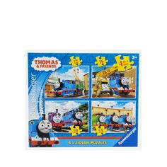 Four bright and jolly Thomas and Friends jigsaws that young fans are bound to enjoy.   Each of the puzzles feature favourite characters shown within colourful and interesting scenes.  The 12 piece puzzle shows Thomas at the docks, collecting the latest addition to the Sodor Zoo, with the Fat Controller giving instructions; the 16 piece puzzle shows Thomas and Kevin in the engine shed, with Spencer in the background; the 20 piece puzzle shows Thomas, Charlie and Harold whizzing through the…