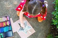 Printable Star Stencils for Sidewalk Chalk -- Great for Memorial Day or 4th of July! #kids #crafts #play #preschool kid-fun