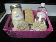 Valentine Homemade Gift Bath Boxes  (Soap, Bubble Bath, Bath Salts, and a Organic Homegrown Loofah)