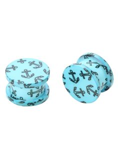 Acrylic plugs with anchor print and a spool shape. Back screws on and off.
