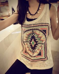 Ethnic Scoop Neck Loose-Fitting Geometric Top For WomenVests & Tank Tops | RoseGal.com