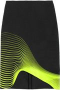 Printed asymmetric silk-faille skirt  Neon-Green Waves