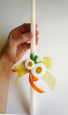 Handmade by Katerina Beadaboo  Easter candle decorated with a felt brooch - daisies. https://www.facebook.com/BeadABoo