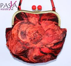 Handmade Seamless Felted Silk Red Black Designer Clutch Bag with lining Wearable Art