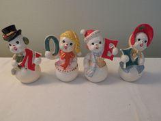 Vintage Ucagco Japan NOEL Snowmen Salt Pepper Set Christmas RARE