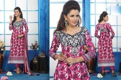 USD 30.31 Pink Cotton Embroidered Cotton Party Wear Suit 40172