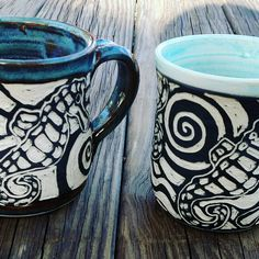 Sgraffito sea horse mugs #bassriverpottery #sgraffito #seahorse #capecod #pottery Sgraffito, Cape Cod, Bass, Pottery, Horses, Ceramics, River, Sea, Tableware