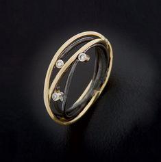 Galaxy Ring by Randi Chervitz -   (Gold, Silver & Stone Ring)