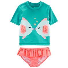 2d83f87d6e Toddler Girl Carter's Fish Rash Guard & Ruffled Bottoms Swimsuit Set,  Size: 3T