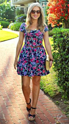 floral fit and flare #ootd