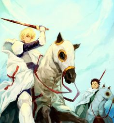 Fate/Zero  THIS IS BEAUTIFUL OH GOSH  I NEVER KNEW I NEEDED GILGAMESH ON A HORSE TILL NOW