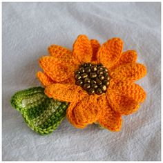 uniquely crochet sunflower hair clip statement by Marmotescu, $12.50